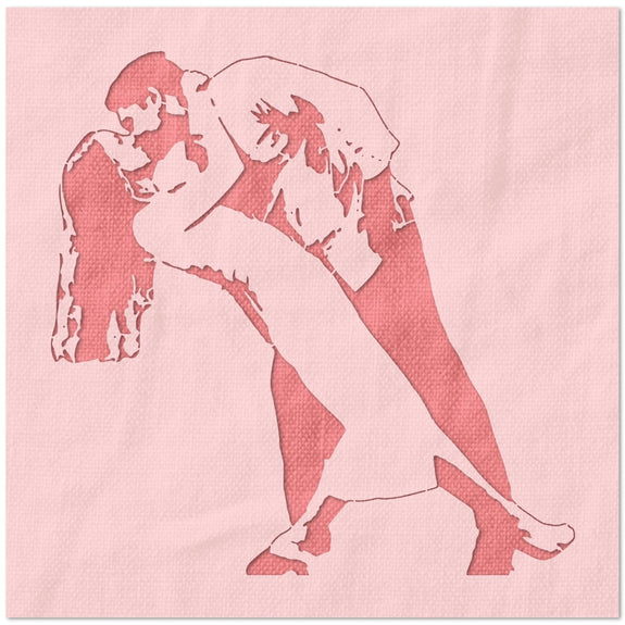 Couple Dancing and Kissing Stencil