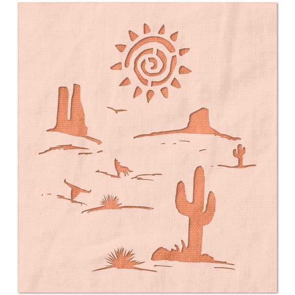 Desert Scene with Twisted Sun Stencil