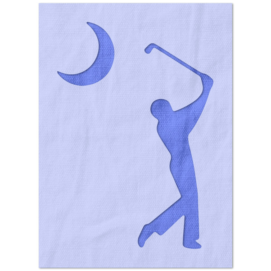 Golfer and Moon Stencil