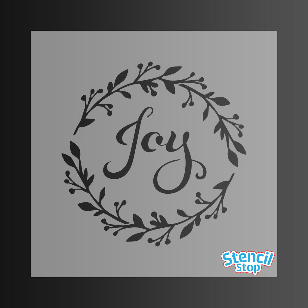 Joy Wreath Christmas Stencil