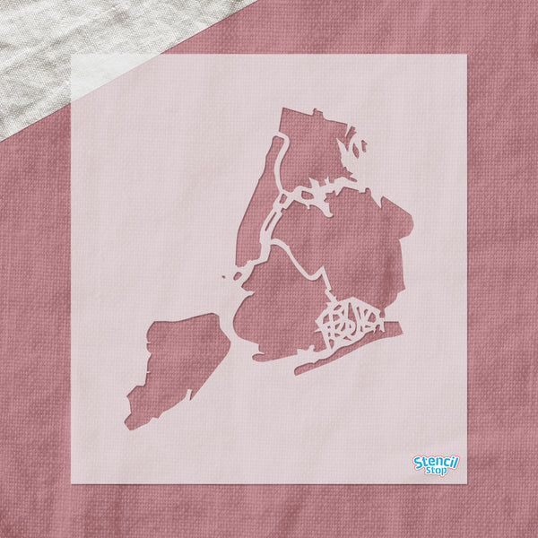 New York City Map Outline Stencil