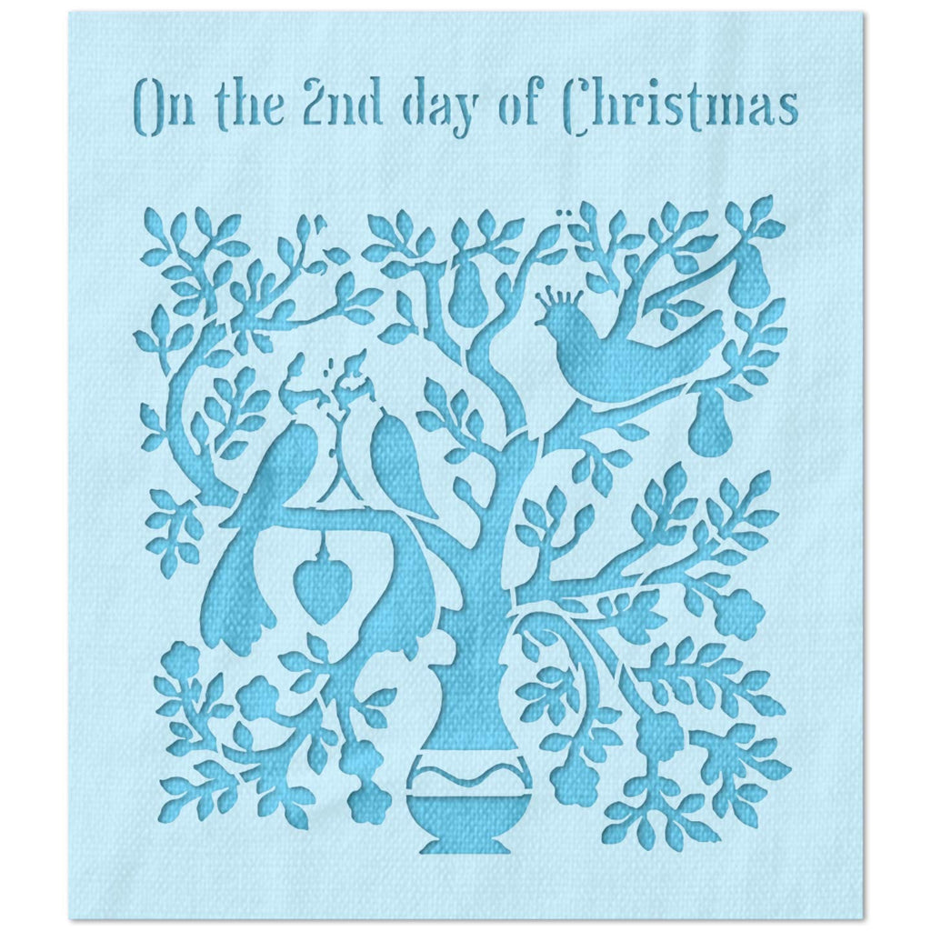 On The 2nd Day of Christmas Stencil