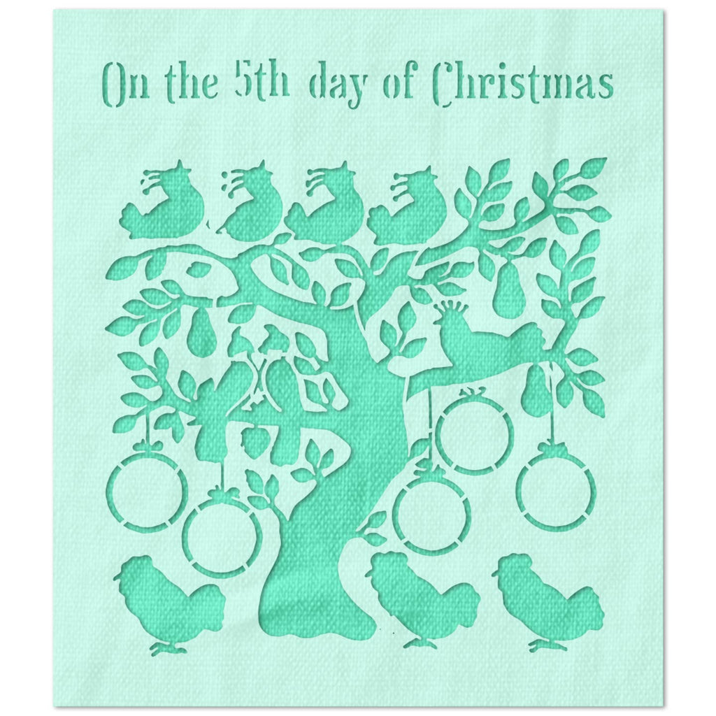 On The 5th Day of Christmas Stencil
