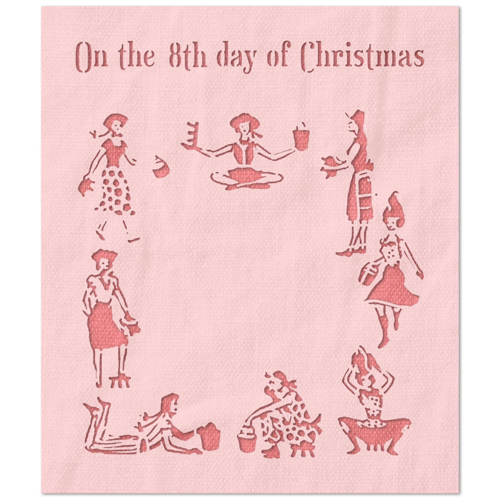 On The 8th Day of Christmas Stencil