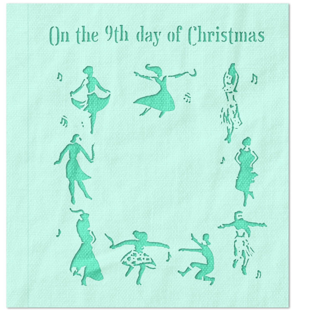 On The 9th Day of Christmas Stencil