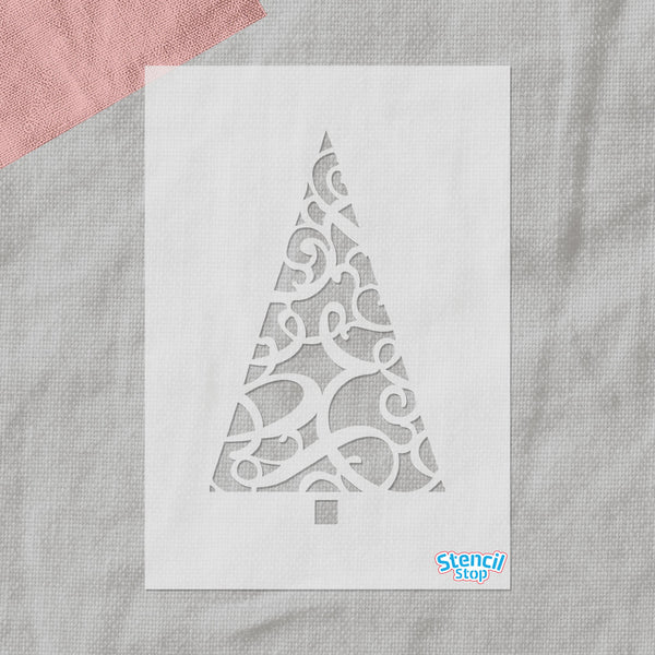 Ornate Christmas Tree Stencil