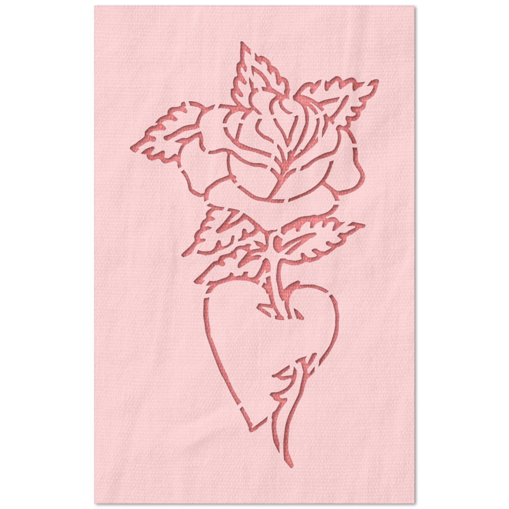Rose with Heart Vase Stencil
