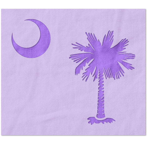 Palmetto Tree and Moon Stencil / South Carolina State Flag Stencil (Detailed)