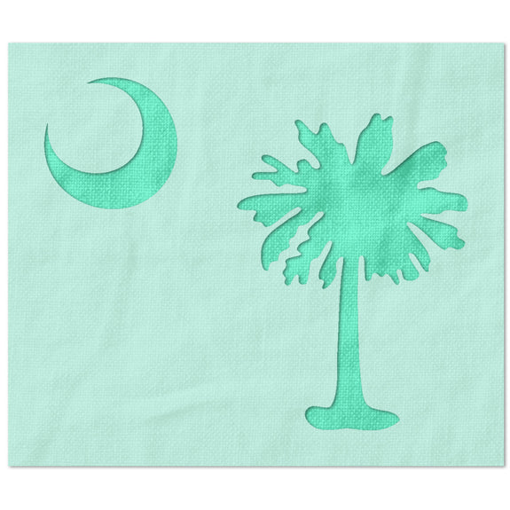 South Carolina Flag Palmetto Tree and Moon Stencil