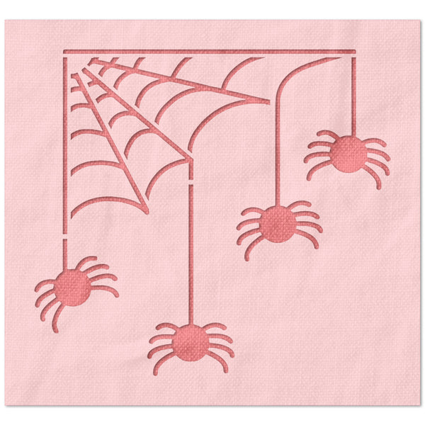 Spiders on a Web Stencil