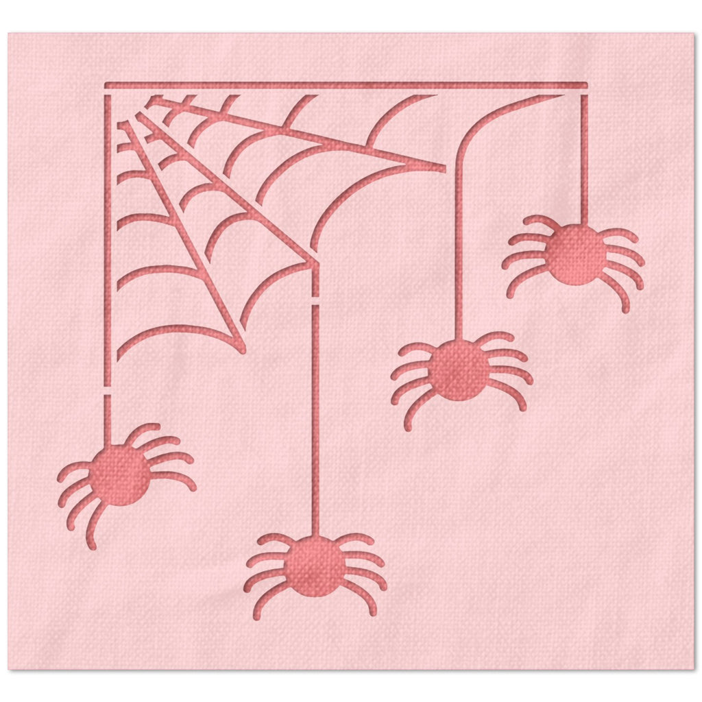 Spiders on Web Stencil
