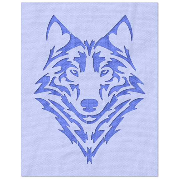Stylized Wolf Face Stencil