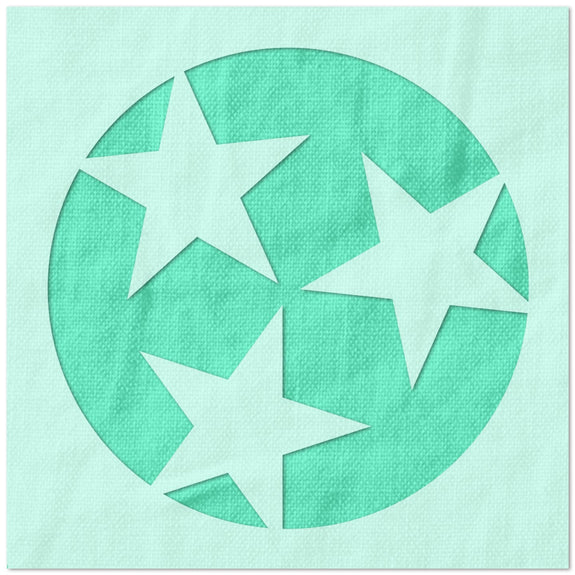 Tennessee State Flag Three Star Stencil