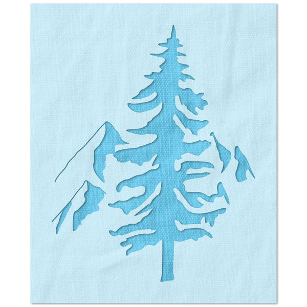 Tree and Mountains Stencil