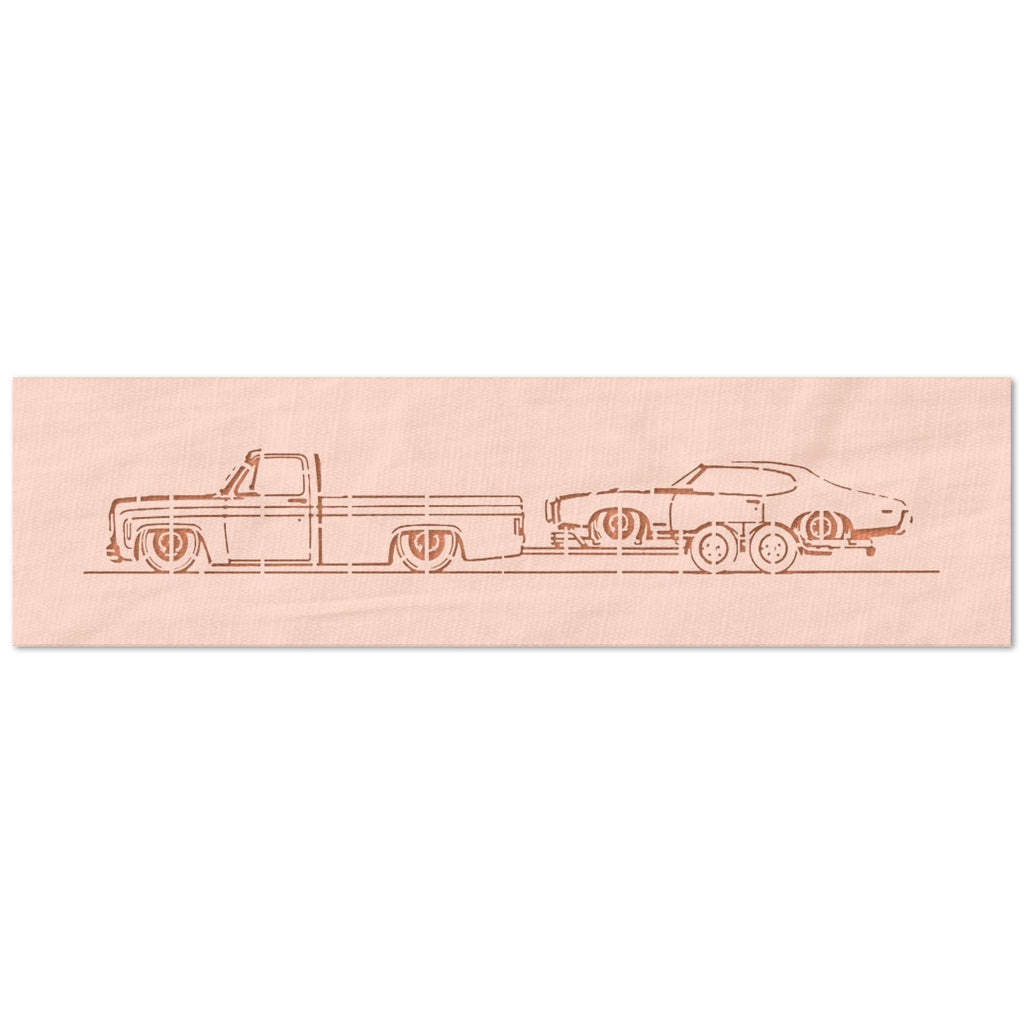 Truck Towing Car Stencil