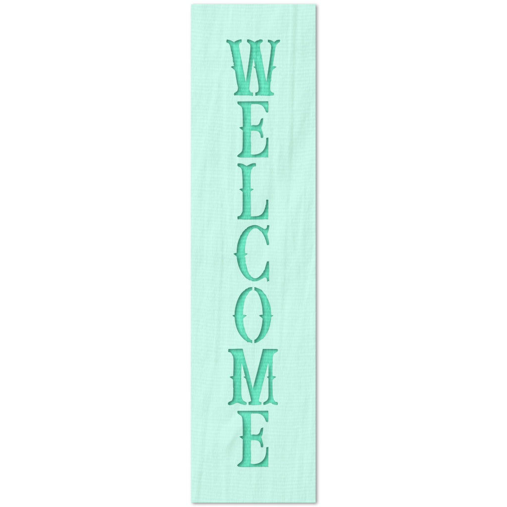 Vertical Welcome Sign Text Stencil