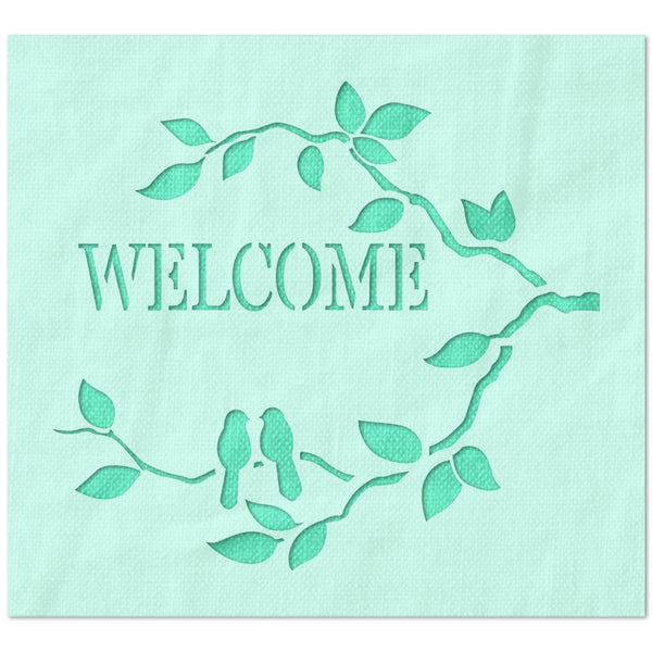 Welcome with Branches Stencil
