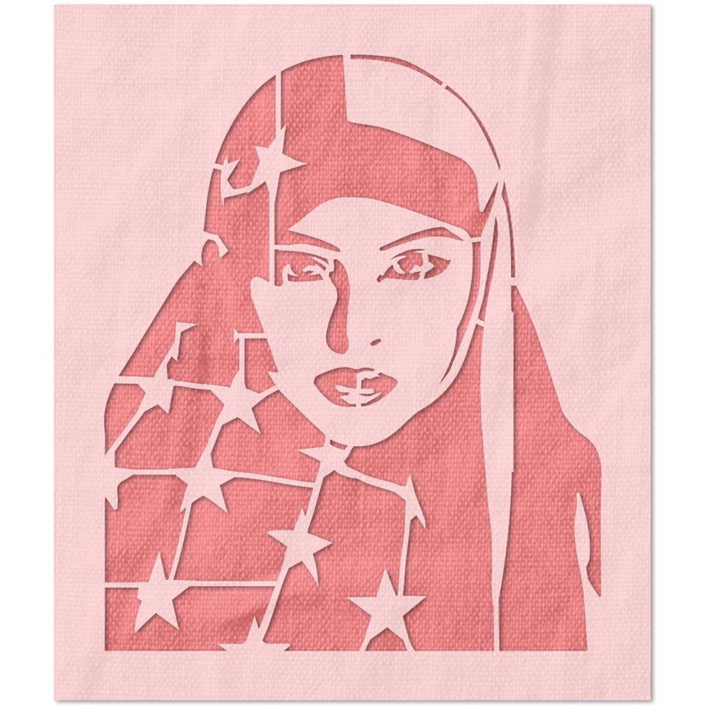 Woman and American Flag Stencil