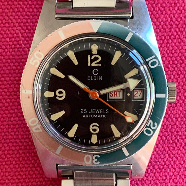 Elgin Watermelon Bezel Skin Diver with Day/Date