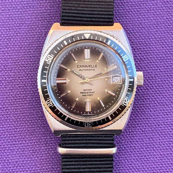Caravelle 666 Feet Devil Dive Watch Signed Crown