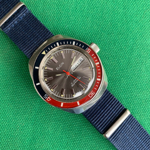 Elgin Diver Day Date Signed Crown