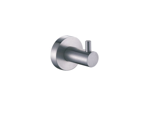 Single Robe Hook - Palermo Bagno Brushed Stainless Steel Collection