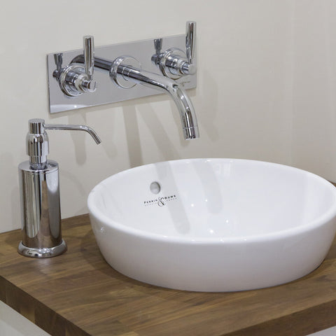 Perrin & Rowe Classic Contemporary Wall Mounted Three Hole Basin Set On Plate with Lever Handles - 3334 CP