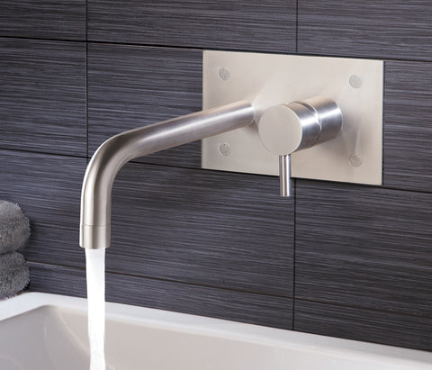 Wall Mounted Basin Mixer with Backplate - Palermo Bagno Brushed Stainless Steel Collection