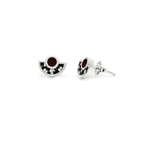 Brae Earrings - Silver- Mosaic Inlay - All Black