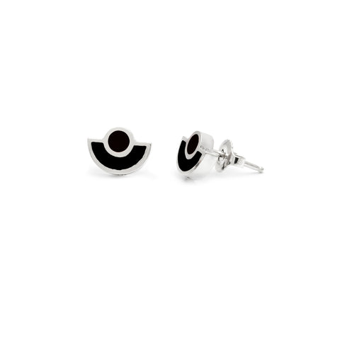 Brae Earrings Silver - Solid Black Inlay
