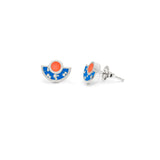 Brae Earrings - Silver- Mosaic Inlay - Blue