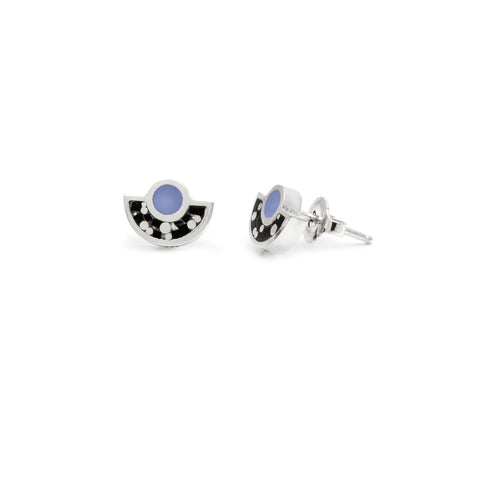 Brae Earrings Silver - Black/Blue Mosaic Inlay