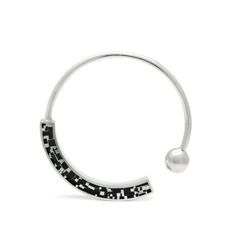 Bangle - Mosaic Inlay -  Silver/ Black