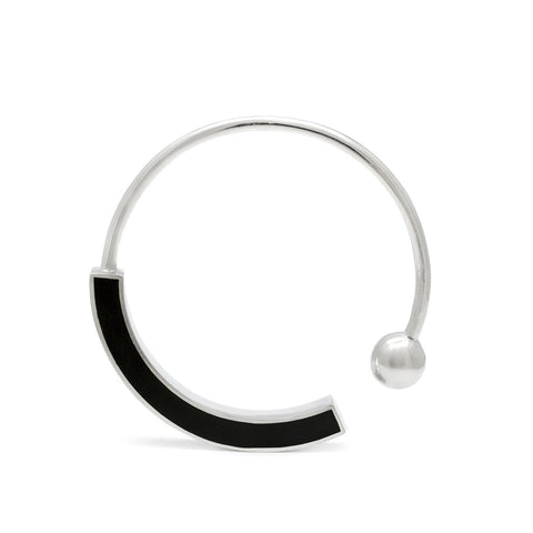Cynthia Bangle - Silver - Solid Black Inlay