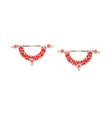 Day Dreaming Earrings - Silver - Mosaic Inlay - Red/Peach