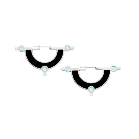 Day Dreaming Earrings - Silver - Solid Inlay - Black/Blue