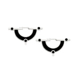 Day Dreaming Earrings - Silver - Solid Inlay - All Black