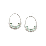 Frances Hoops - Silver - Mosaic Inlay - Aqua