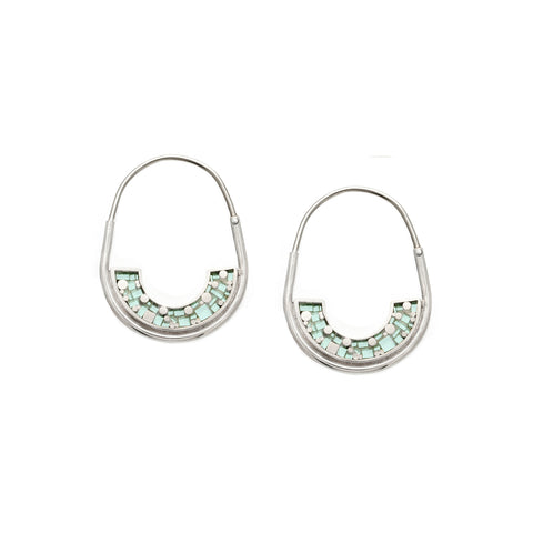 *NEW* Frances Hoops - Silver - Mosaic Inlay - Aqua
