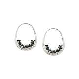 *NEW* Frances Hoops - Silver - Mosaic Inlay - Black