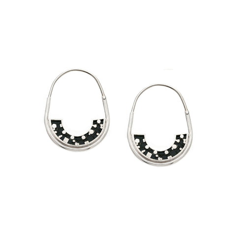 Frances Hoops - Silver - Mosaic Inlay - Black