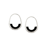 Frances Hoops - Silver - Solid Inlay - Black