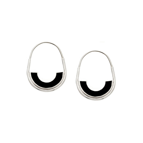 *NEW* Frances Hoops - Silver - Solid Inlay - Black