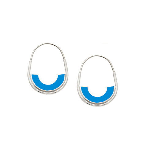 *NEW* Frances Hoops - Silver - Mosaic Inlay - Blue