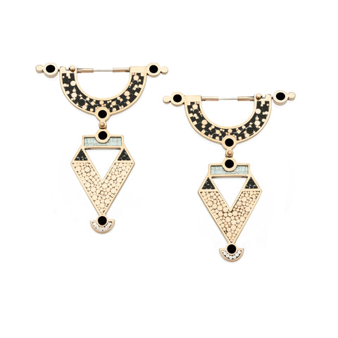 Golden Age Earrings - Bronze - Mosaic Inlay - All Black
