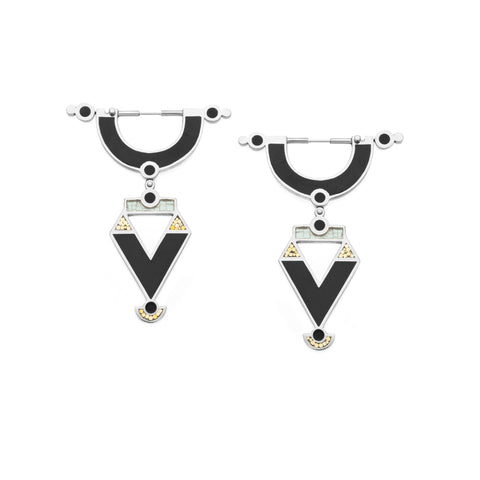 Golden Age Earrings - Silver - Solid Inlay - Black