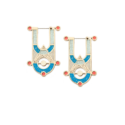High Priestess Earrings - Bronze - Mosaic Inlay - Blue