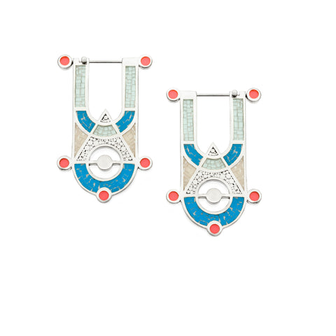 High Priestess Earrings - Silver - Mosaic Inlay - Blue