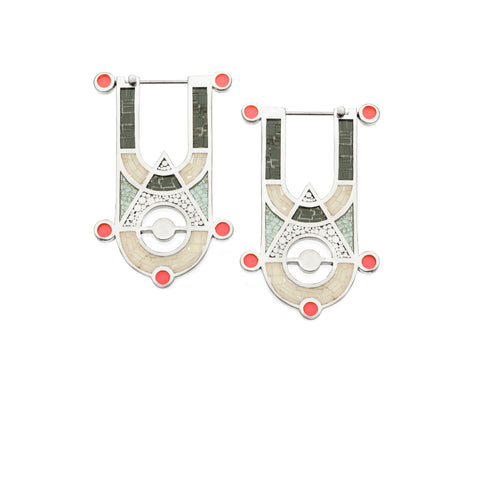 High Priestess Earrings - Silver - Mosaic Inlay - Grey