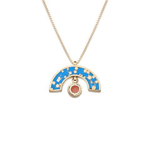 James Necklace - Bronze - Mosaic Inlay - Blue